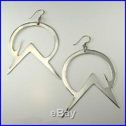 1980s BIG LONG DROP Sterling Silver Earrings 925 Modernist Boho Space Star Trek