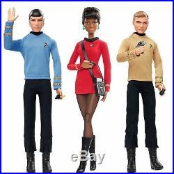 Barbie Star Trek 50th Anniversary Mr Spock LT UHURA Captain Kirk 3 DOLLS DVG82
