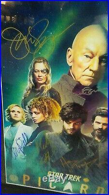 Cast Autographed Poster STAR TREK PICARD + C. O. A. Framed 16x20