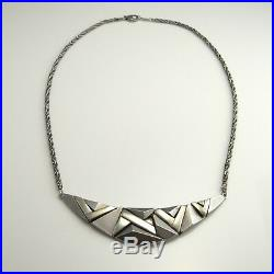 Geometric Artisan Studio Sterling Silver Pendant Necklace 1970s Star Trek Space