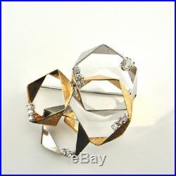 OEC Diamond Brooch Pin Mid Century Modernist 14K Gold 585 Space 1960s Star Trek