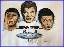 RARE Vintage Star Trek Sweatshirt Kirk Spock McCoy Enterprise White Large