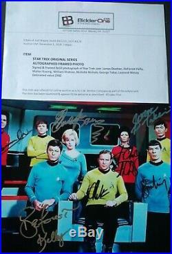 Star Trek 7 Original Cast Hand Signed Photo COA William Shatner Leonard Nimoy