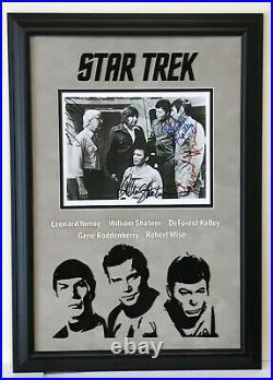 Star Trek Original Cast Photo Signed Leorard Nimoy, William Shatner, Robert Wise