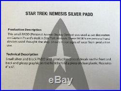 Star Trek Padd Nemesis original prop TNG screen used