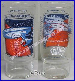 Star Trek The Original Series SET of FOUR GLASSES by DR. PEPPER 1978 MINT