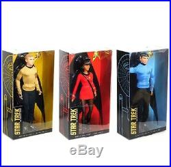 Star Trek Uhura, Spock, Kirk 2016 50th Anniversary Doll SET Of 3 Black Label COA