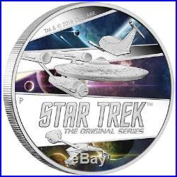 Tuvalu 2 Dollar 2018 Star Trek Ships Original Serie 2 Oz Silber PP