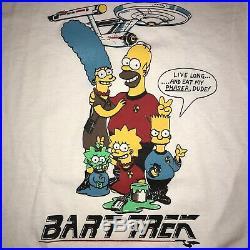 Vintage Bart Trek T Shirt Bart Simpson Star Trek Bootleg Single Stitch 50/50 L