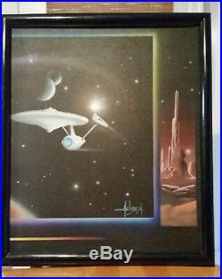 Vintage Claus Andersen Original Sci Fi Painting Star Trek Star ship signed 1992