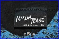 Vtg 90s STAR TREK DEEP SPACE NINE ALL-OVER SPLATTER PRINT BLACK DS9 t-shirt XL